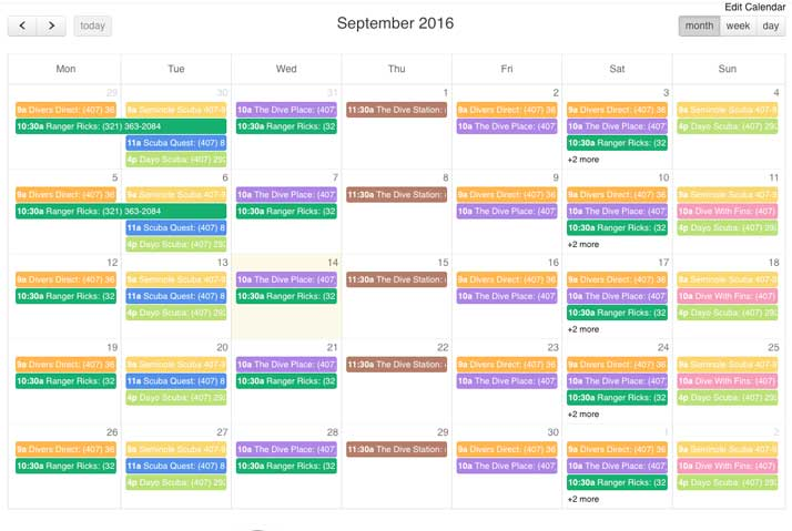 dive calendar by scuba schedules